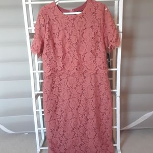 Lulu's Dusty Rose Lace Midi Dress